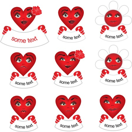 pattern red hearts banners with Stock Vector - 7780373
