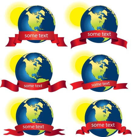Planet Earth with the red ribbon or banner