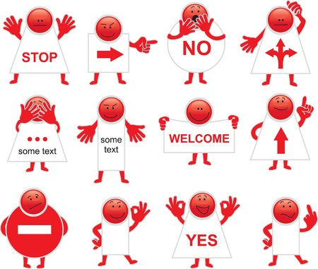 pattern red smiles banners with info  Illustration
