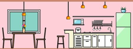 kitchen interior design, cupboard with kitchen appliance set, rice cooker, microwave, dishes, and cups and dining area, dining table, two chairs with a vase filled with flowers. Ilustración de vector