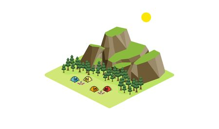 Isometric, cedar forest in front of the mountain with the camping site, four colorful  tents with campfire and logs Illustration