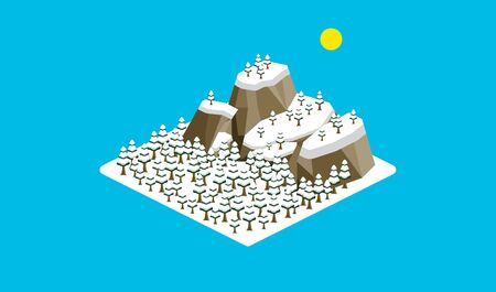 Isometric, the mountain, and cedar forest filled with the snow in the winter Ilustracja
