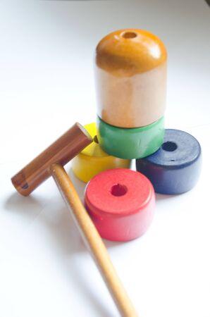Wooden Japan toys3 mit wei�em Hintergrund Lizenzfreie Bilder