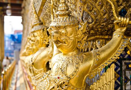 Thai golden Garuda at Wat Prakaew in Thailand Stock Photo