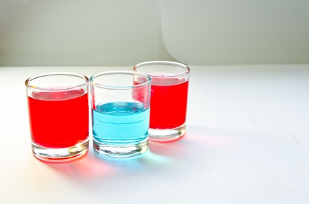 red and blue in the glasses