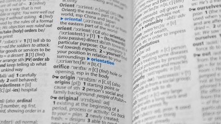 close-up orientation wording on dictionary
