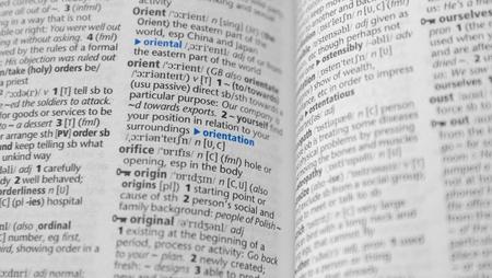 close-up Orientierung Wortlaut auf W�rterbuch