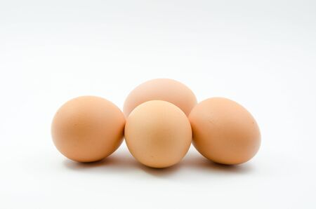 Eggs,four eggs on the white background