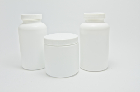 medicine bottle on white background