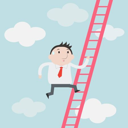 corporate ladder: Businessman climbs up the Ladder - Vector
