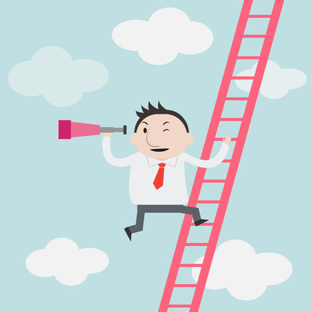 Businessman gets a better view on the Ladder - Vector Vettoriali