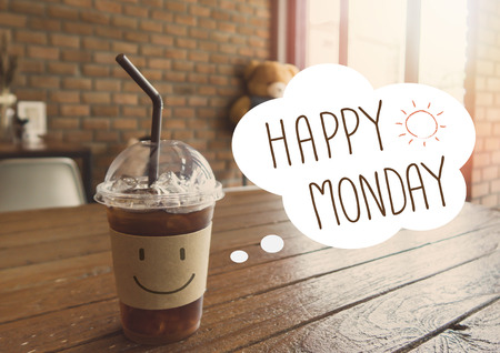 Happy Monday ice coffee drink background with vintage filter Фото со стока