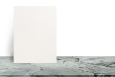 Blank Eco textured paper poster on stone table top at white background,Template mock up for adding your design.