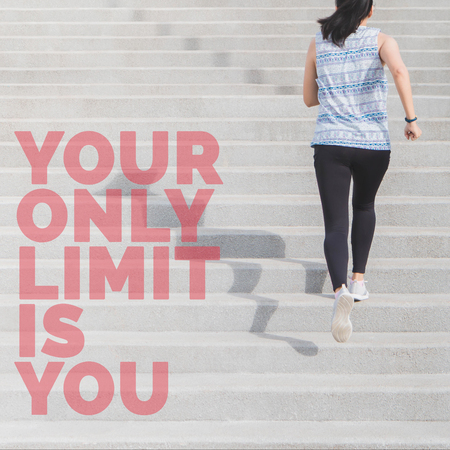 Inspirational quote your only limit is you on young Asian sport woman running upstairs background with vintage filter