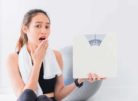 Asian woman are surprised and holding weighing scale after play yoga and exercise at home.Expressing worry about body weight, weight loss.