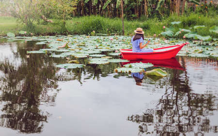 Asian woman rowing a small boat in the Lotus pond at garden with green tree background.