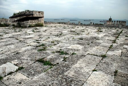 View from the top of the Yedikule fortress (Istanbul/Turkey) on the ships in Bosphorus.