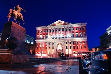 Moscow by night. City hall and monument to Yuri Dolgoruky – founder of the city