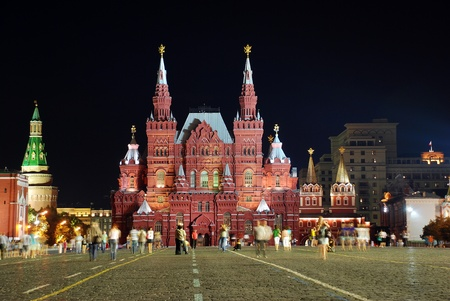 National Historic museum in Moscow by night