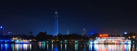 Egypt  Night Cairo  Panoramic view of Nile and Cairo Tower on Gezira island