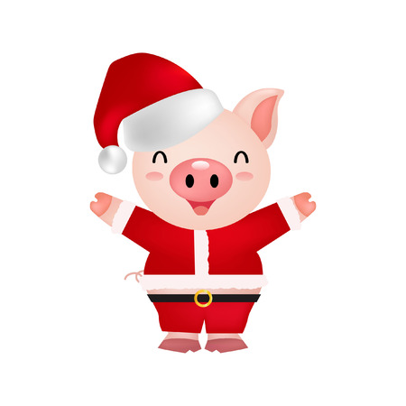 cute pig happy christmas illustration Illustration