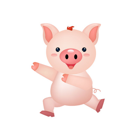 cute pig happy dance illustration