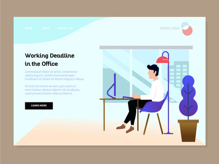 landing page template with people working to deadline