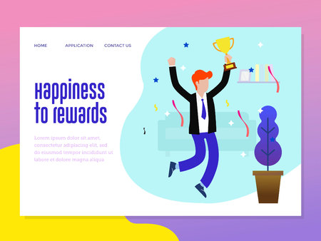 landing page template with reward business background