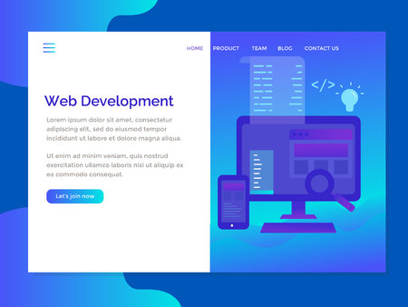 landing page template with web development exclusive Vetores