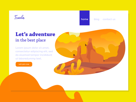 landing page with beautifull sunset Illustration