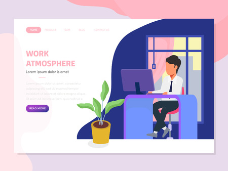 landing page with business work in offices