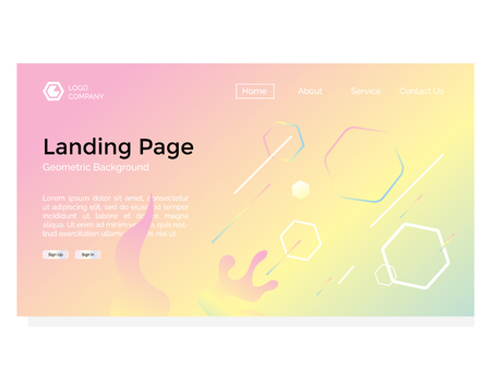 landing page with geometric abstract background