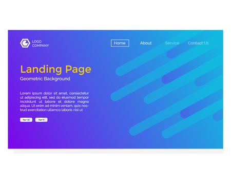 landing page with geometric background