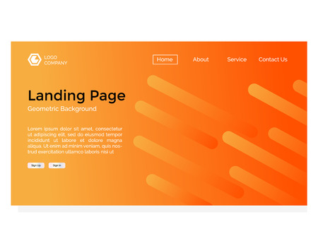 landing page with geometric rounded background Illustration