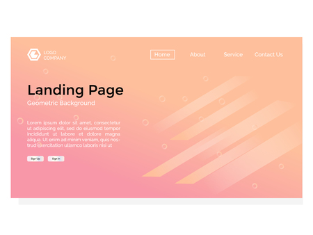 landing page with geometric shape background