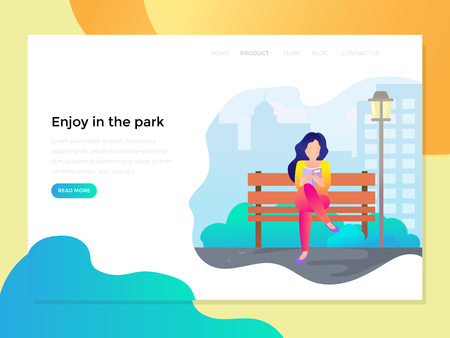 landing page with reading woman at the park Illustration