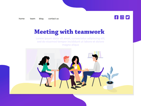 meeting concept with landing page template