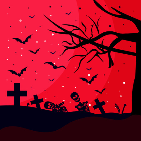 hallooween party poster with cemetery vector Illustration