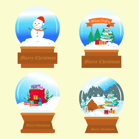 Realistic snow ball bundle with christmas background