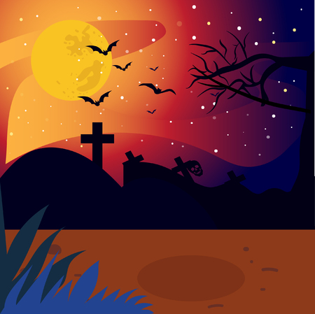 scary night with halloween background