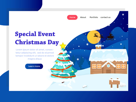 landing page template with christmas background