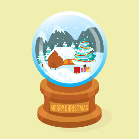 snow globe christnas background Illustration