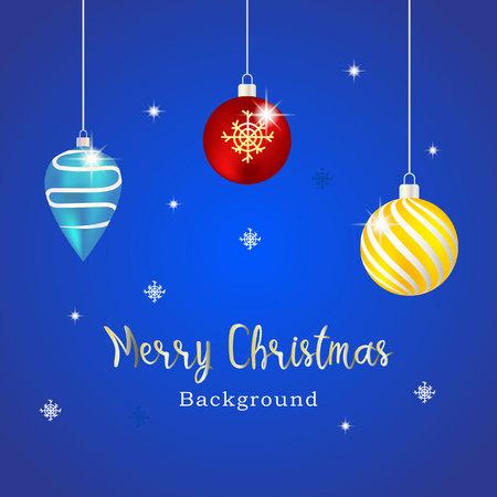 triple christmas ball with blue background Illustration