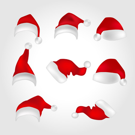 santa claus hat with realistic collection