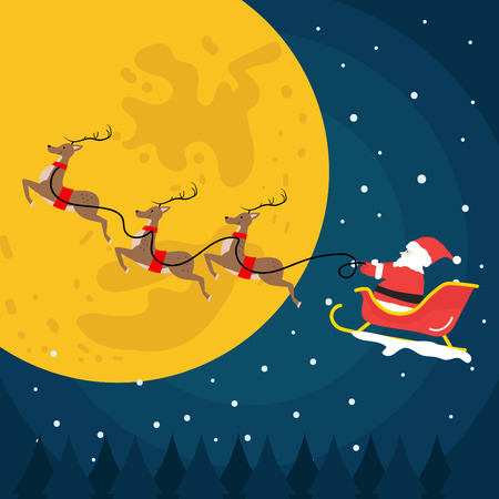 santa claus flying with flat design Illustration