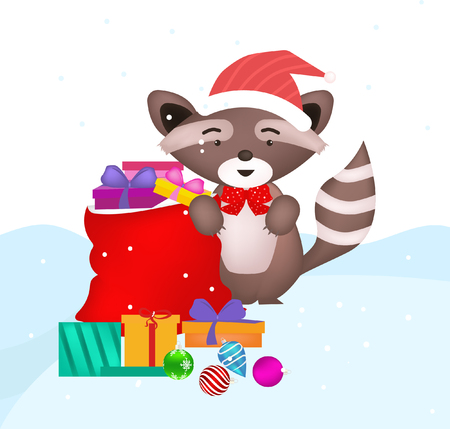 weasel animal with gift box in christmas Illustration