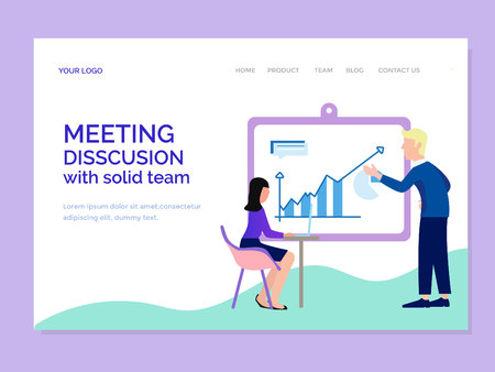 landing page template with meeting disscusion team Illustration