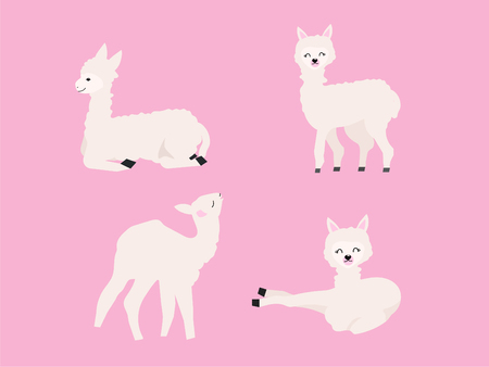cartoon alpaca gesture vector