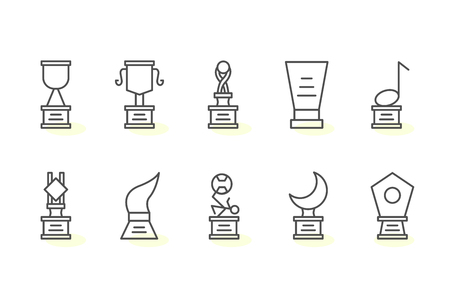 10 award thin line icons Illustration