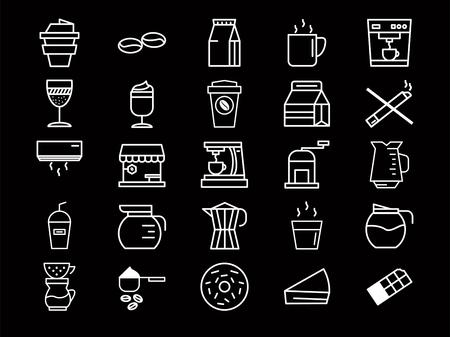 Outline coffee icon set isolated on black background